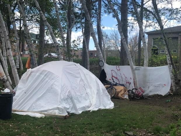 Police have been letting some homeless people tent at four sites through the city. (Elizabeth Fraser/CBC - image credit)