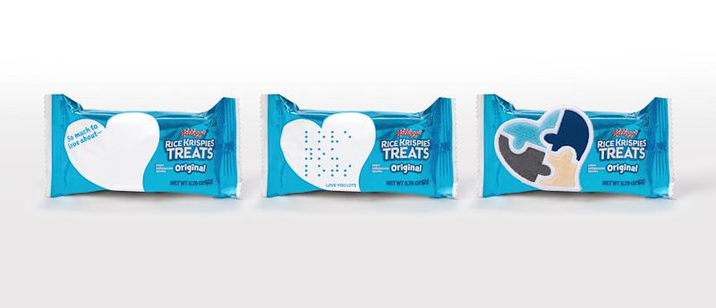 Trio of Rice Krispies Love Notes with original, braille, and sensory-friendly packages