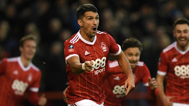 "U.S. international Eric Lichaj scored twice as Nottingham Forest knocked <a class=""link rapid-noclick-resp"" href=""/soccer/teams/arsenal/"" data-ylk=""slk:Arsenal"">Arsenal</a> out of the FA Cup. (Omnisport)"