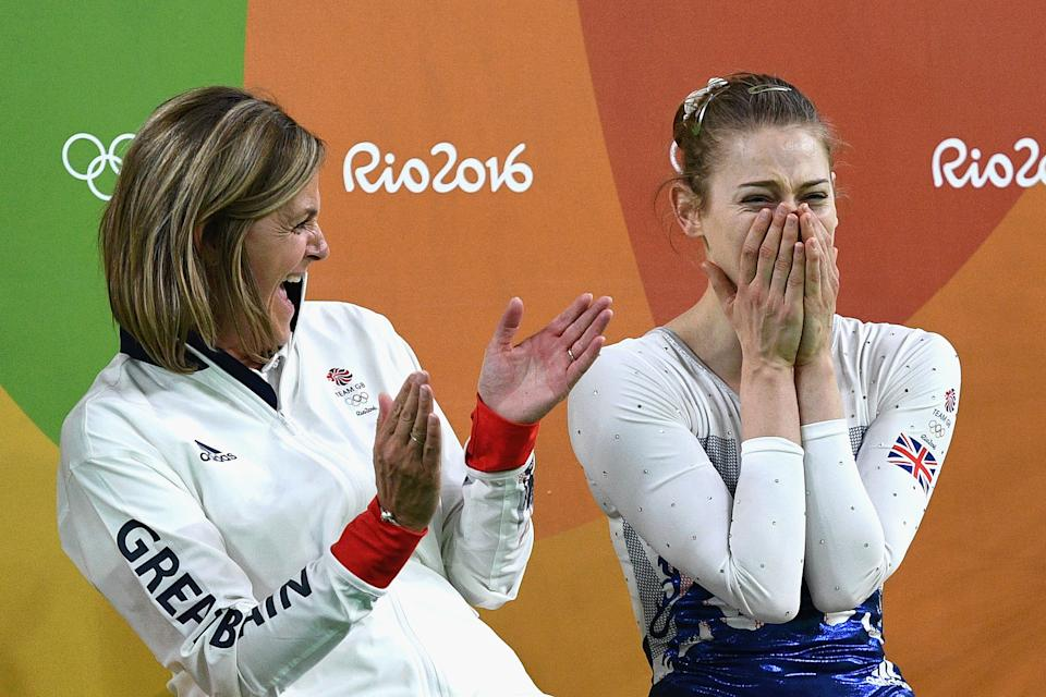 RIO DE JANEIRO, BRAZIL - AUGUST 12:  Silver medalist Bryony Page of Great Britain (R) reacts after competing in the Trampoline Gymnastics Women's Final on Day 7 of the Rio 2016 Olympic Games at the Rio Olympic Arena on August 12, 2016 in Rio de Janeiro, Brazil.  (Photo by David Ramos/Getty Images)