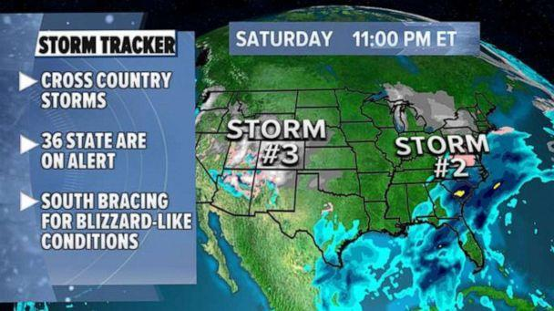 PHOTO: Multiple storms will move across the U.S. this weekend into next week bringing snow and ice from coast to coast, Feb. 12, 2021. (ABC News)