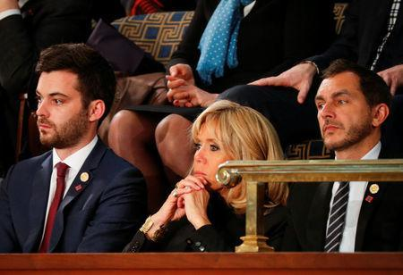 Brigitte Macron wife of French President Emmanuel Macron listens during a joint meeting of Congress in the House chamber of the U.S. Capitol in Washington, U.S., April 25, 2018. REUTERS/Brian Snyder