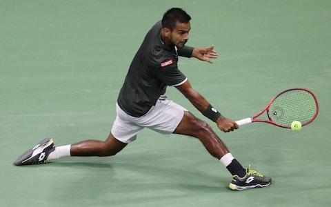 <span>Nagal eventually lost the first-round match 4-6, 6-1, 6-2, 6-4</span> <span>Credit: EPA </span>