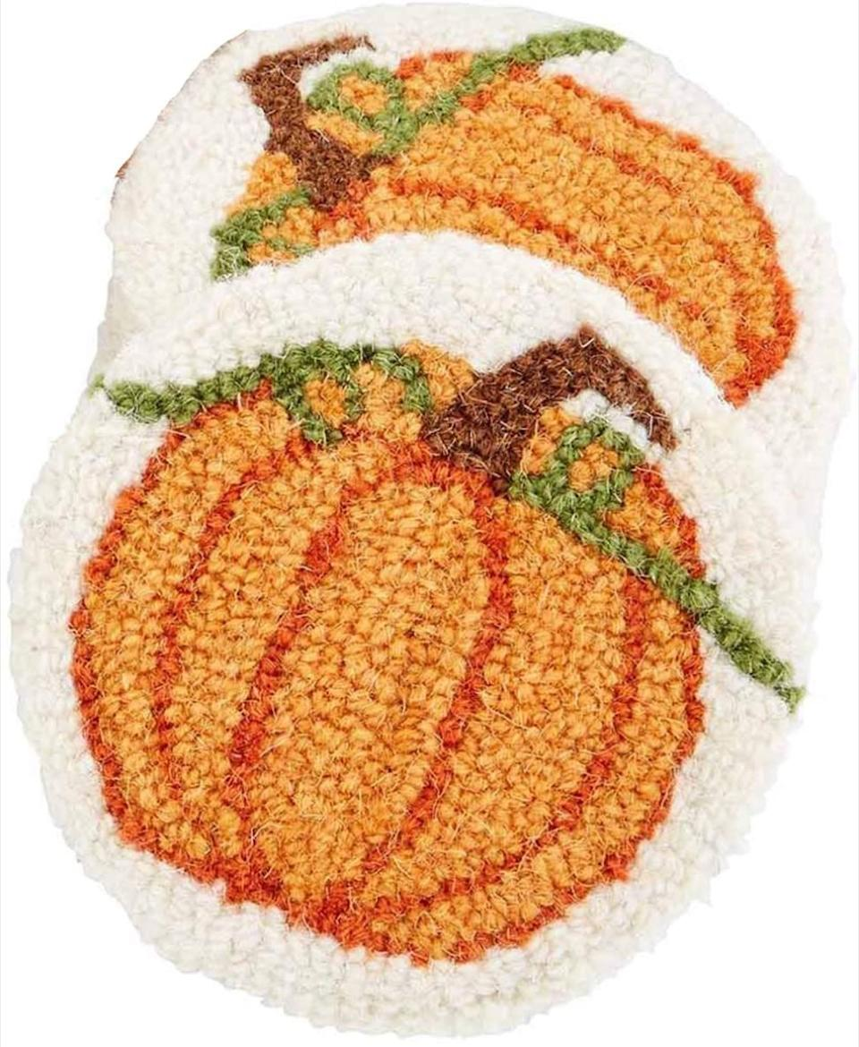 crocheted pumpkin coasters