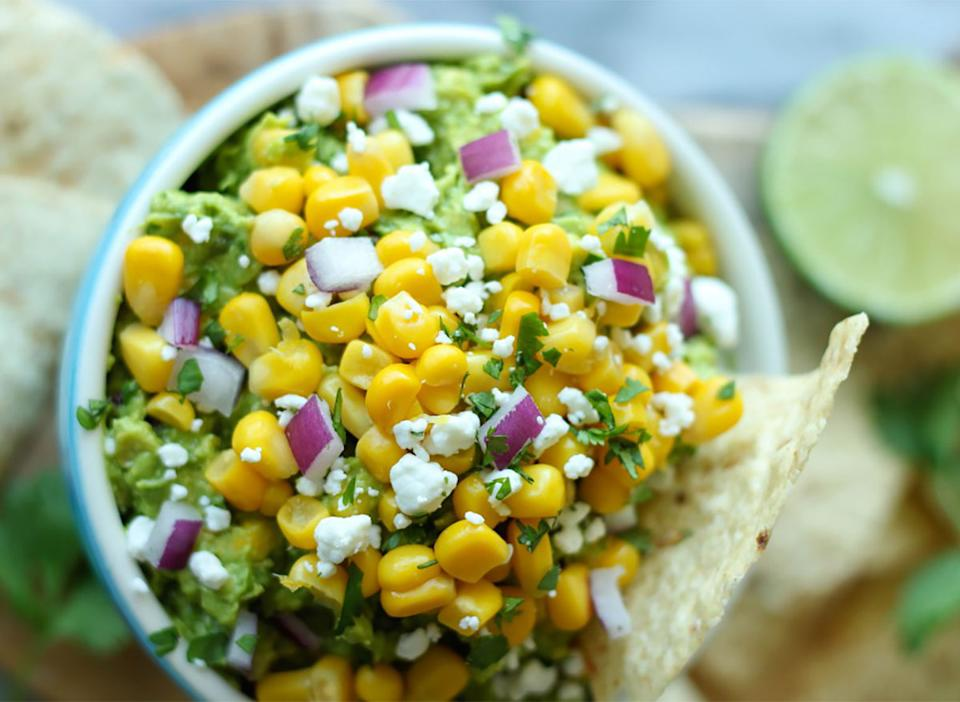 sweet corn grilled guacamole in bown