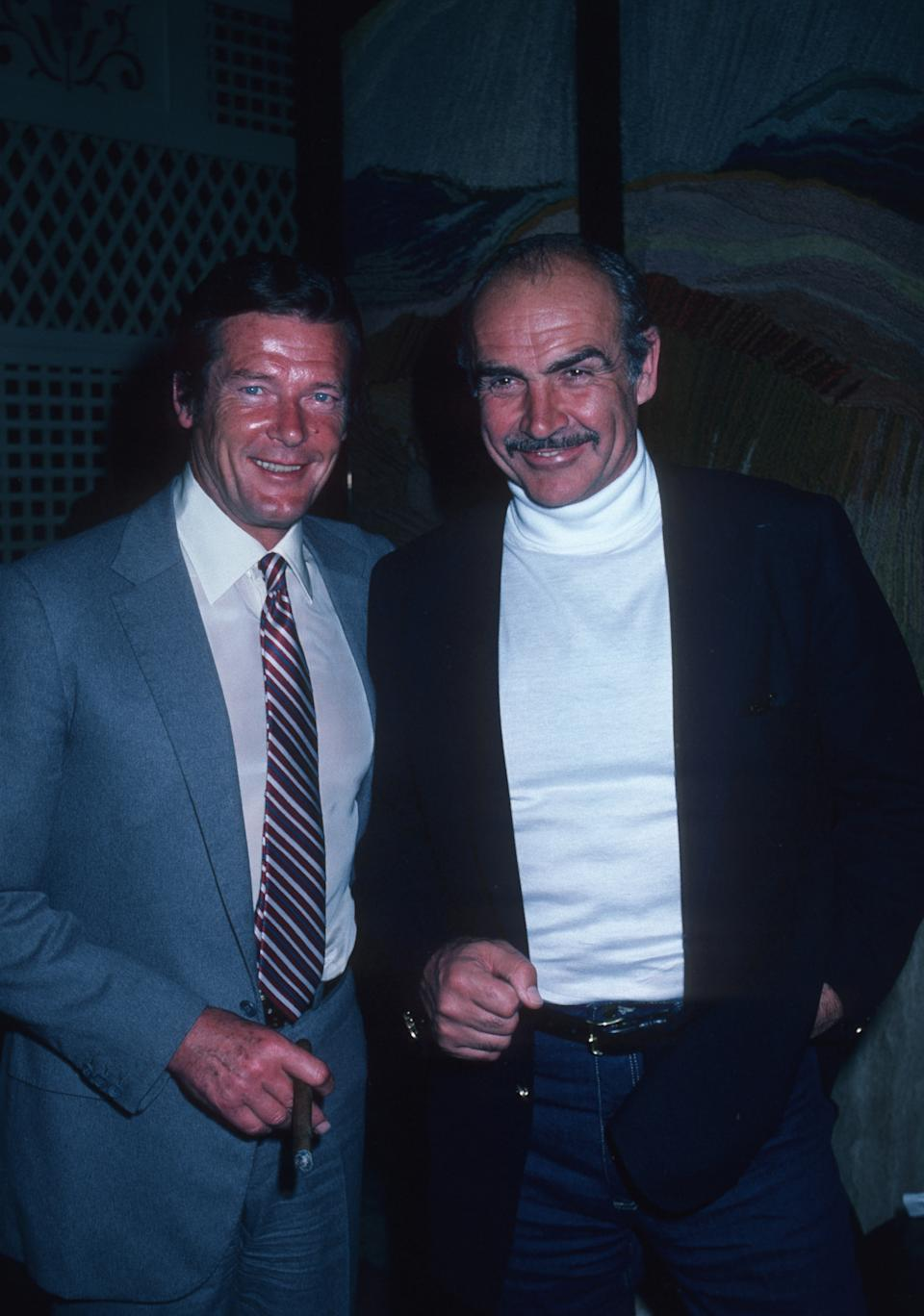 Roger Moore and Sean Connery (Photo by Ron Galella/Ron Galella Collection via Getty Images)