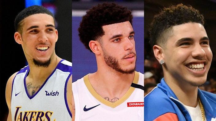 The Ball brothers — (from left) LiAngelo, Lonzo and LaMelo — are all set to play in the soon-to-begin 2020-2021 NBA season. (Photos by Jayne Kamin-Oncea/Getty Images and Mike Ehrmann/Getty Images)