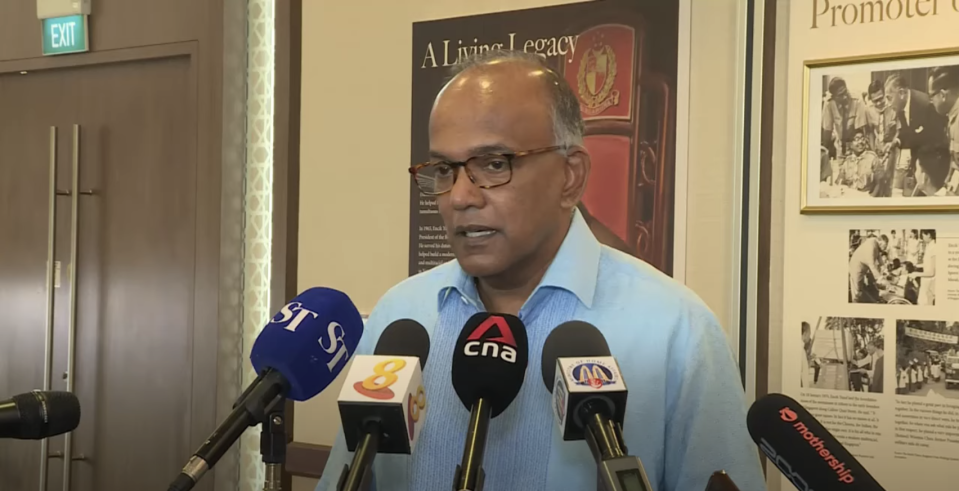 Minister for Home Affairs and Law K. Shanmugam speaking to reporters on Thursday (28 January). (PHOTO: Screengrab/YouTube)