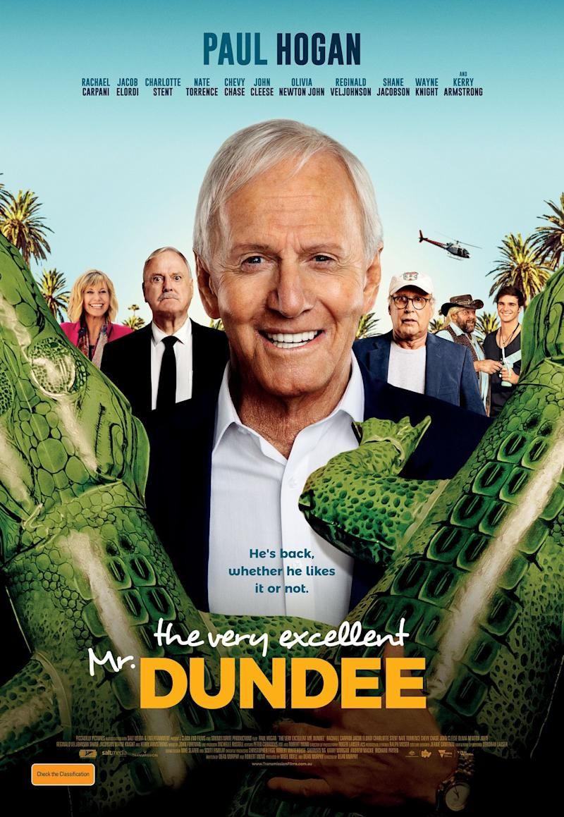 Hogan is joined by stars like John Cleese, Chevy Chase and Olivia Newton-John in The Very Excellent Mr. Dundee. (Photo: Piccadilly Pictures)
