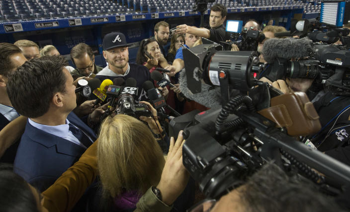 Josh Donaldson, now on the Atlanta Braves, scrums with the media before his first game back in Toronto. (Rick Madonik/Toronto Star via Getty Images)