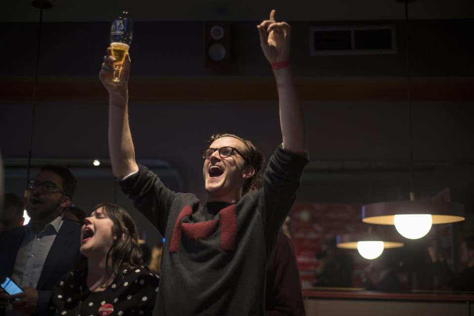 Liberal supporter James Graham reacts from Chrystia Freeland's election night event at the Peacock Public House after voting stations in Toronto closed on Monday, October 21, 2019. THE CANADIAN PRESS/ Tijana Martin