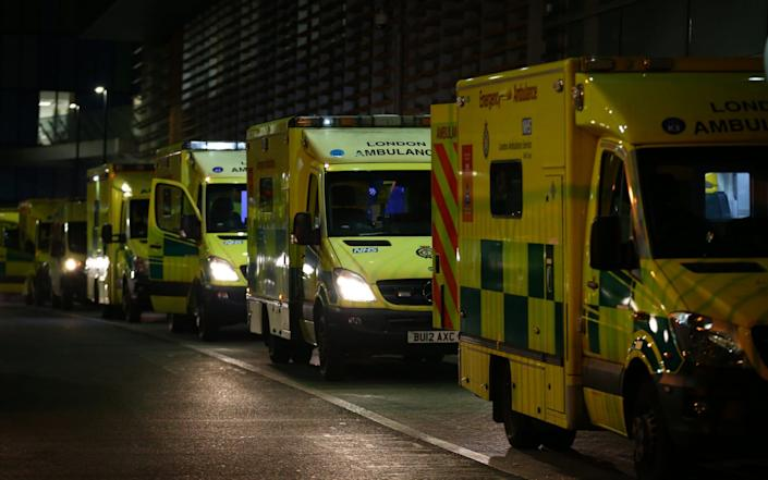 London ambulances parked outside The Royal London Hospital on New Year's Eve - Getty Images Europe