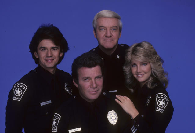 ADRIAN ZMED;WILLIAM SHATNER;RICHARD HERD;HEATHER LOCKLEAR - T.J. HOOKER, 1982. (Walt Disney Television via Getty Images)