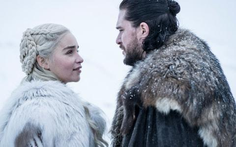 Emilia Clarke and Kit Harington in season 8 of Game of Thrones - Credit: HBO