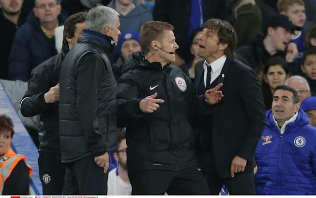<span>Mourinho and Chelsea manager Antonio Conte have clashed earlier in the season</span>