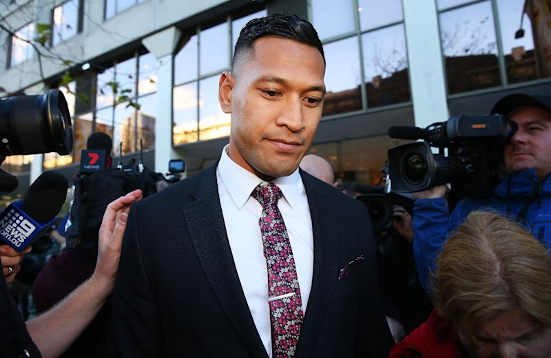 SYDNEY, AUSTRALIA - JUNE 28: Israel Folau departs his conciliation meeting with Rugby Australia at Fair Work Commission on June 28, 2019 in Sydney, Australia. (Photo by Don Arnold/Getty Images)