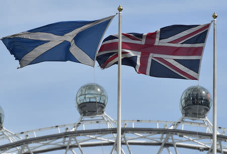 The Scottish saltire flag and Union flag fly outside the Scottish Office in central London