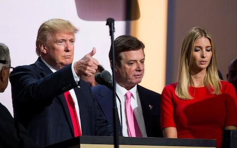 Republican nominee Donald Trump, Campaign Manager Paul Manafort, and his daughter Ivanka Trump at the Republican Convention - Credit: Getty