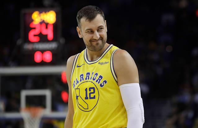 "<a class=""link rapid-noclick-resp"" href=""/nba/players/3927/"" data-ylk=""slk:Andrew Bogut"">Andrew Bogut</a> has made eight appearances for the <a class=""link rapid-noclick-resp"" href=""/nba/teams/golden-state/"" data-ylk=""slk:Golden State Warriors"">Golden State Warriors</a> since rejoining the two-time defending champions last month. (AP)"