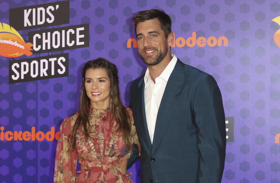 Packers quarterback Aaron Rodgers and race-car driver Danica Patrick have been quarantining in California. (Photo by Willy Sanjuan/Invision/AP)