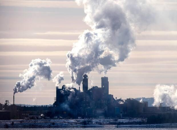 The Northern Pulp mill in Abercrombie Point, N.S., is viewed from Pictou, N.S., Friday, Dec. 13, 2019. Paper Excellence says it would reduce the smoke plumes under its proposed plans.  (Andrew Vaughan/The Canadian Press - image credit)