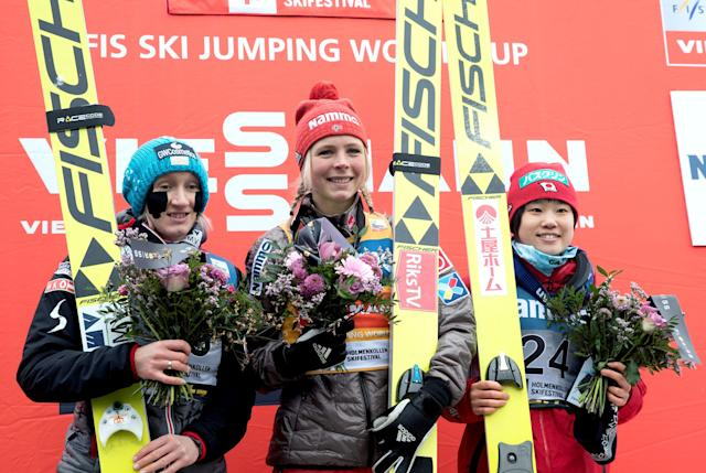 FIS Ski Jumping World Cup - Women's HS134 - Holmenkollen, Norway - March 11, 2018. Daniela Irascho-Stolz of Austria, Maren Lundby of Norway and Yuki Ito of Japan on the podium. NTB Scanpix/Terje Bendiksby via REUTERS ATTENTION EDITORS - THIS IMAGE WAS PROVIDED BY A THIRD PARTY. NORWAY OUT. NO COMMERCIAL OR EDITORIAL SALES IN NORWAY.