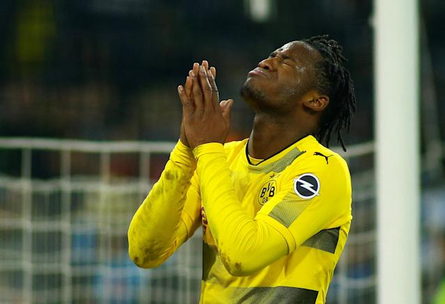 Soccer Football - Bundesliga - Borussia Moenchengladbach vs Borussia Dortmund - Borussia-Park, Moenchengladbach, Germany - February 18, 2018 Borussia Dortmund's Michy Batshuayi reacts REUTERS/Thilo Schmuelgen DFL RULES TO LIMIT THE ONLINE USAGE DURING MATCH TIME TO 15 PICTURES PER GAME. IMAGE SEQUENCES TO SIMULATE VIDEO IS NOT ALLOWED AT ANY TIME. FOR FURTHER QUERIES PLEASE CONTACT DFL DIRECTLY AT + 49 69 650050