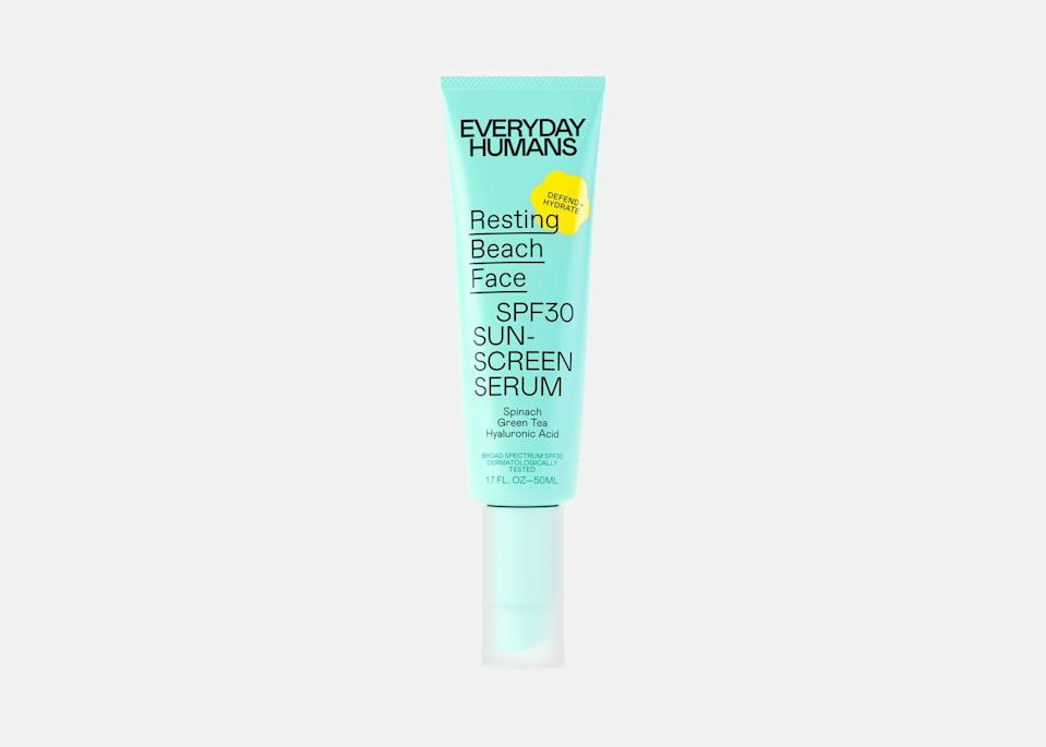 """For an alternative to a traditional face sunscreen, consider trying a sunscreen serum. Everyday Humans' Resting Beach Face serum is made with hyaluronic acid, green tea, and spinach, giving your skin vitamins A, C, and E. <em>Traveler</em> commerce editor Madison Flager swears by this one. """"This is one of my favorite face sunscreens for days when I know I'll be outside for a while. It goes on super smooth and leaves my skin glowy, but not greasy. I love the shape of the bottle, too; it's super narrow and compact, so I can fit it into even my smallest purse."""" The serum has SPF 30 protection and can be worn underneath makeup or on its own. $24, Ulta. <a href=""""https://www.ulta.com/p/resting-beach-face-spf30-sunscreen-serum-pimprod2017378?catargetid=330000200002232600&CAPCID=439726527274&CATCI=dsa-967108658047&CAAGID=100201824377&CADevice=c&gclid=Cj0KCQjwsqmEBhDiARIsANV8H3ZJkkWCJhBcK5UPVYffzrkoIO6GthYF31-EKFpn5Bdo-J-vfRQ9BJwaAoXHEALw_wcB"""" rel=""""nofollow noopener"""" target=""""_blank"""" data-ylk=""""slk:Get it now!"""" class=""""link rapid-noclick-resp"""">Get it now!</a>"""