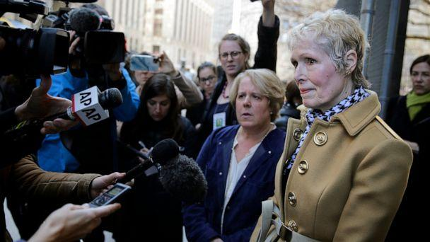 PHOTO: E. Jean Carroll, right, talks to reporters outside a courthouse in New York, Wednesday, March 4, 2020.  (Seth Wenig/AP, File)