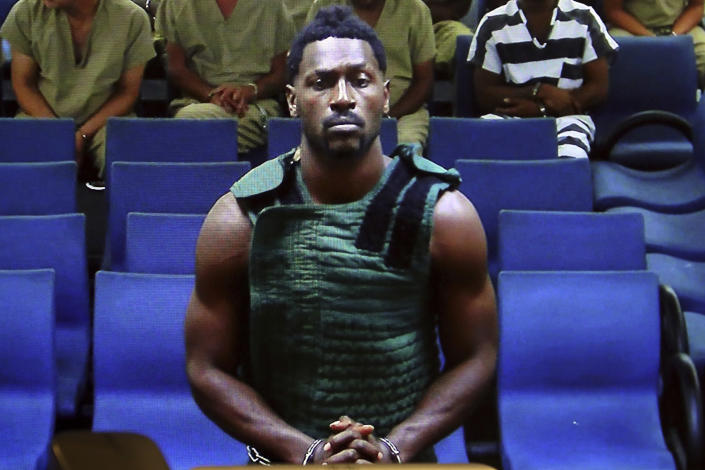 Antonio Brown appears at the Broward County Courthouse in Fort Lauderdale, Fla., via video link on Jan. 24. Brown was accused of attacking the driver of a moving truck that carried some of his possessions from California. (Amy Beth Bennett/South Florida Sun Sentinel via AP, Pool)