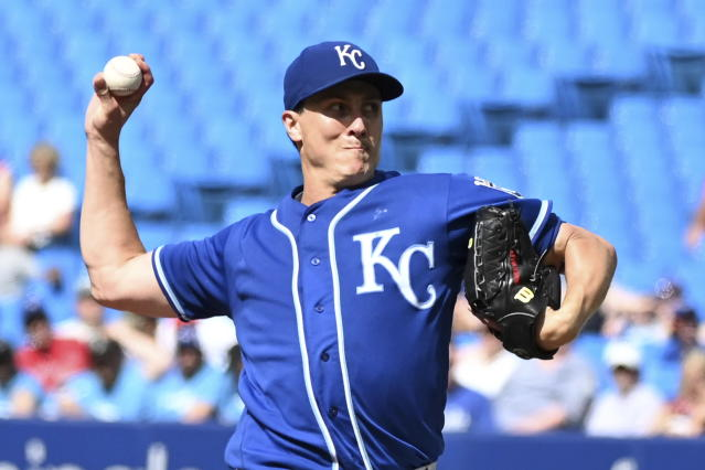 Kansas City Royals' Homer Bailey pitches during first-inning baseball game action against the Toronto Blue Jays in Toronto, Saturday, June 29, 2019. (Jon Blacker/The Canadian Press via AP)
