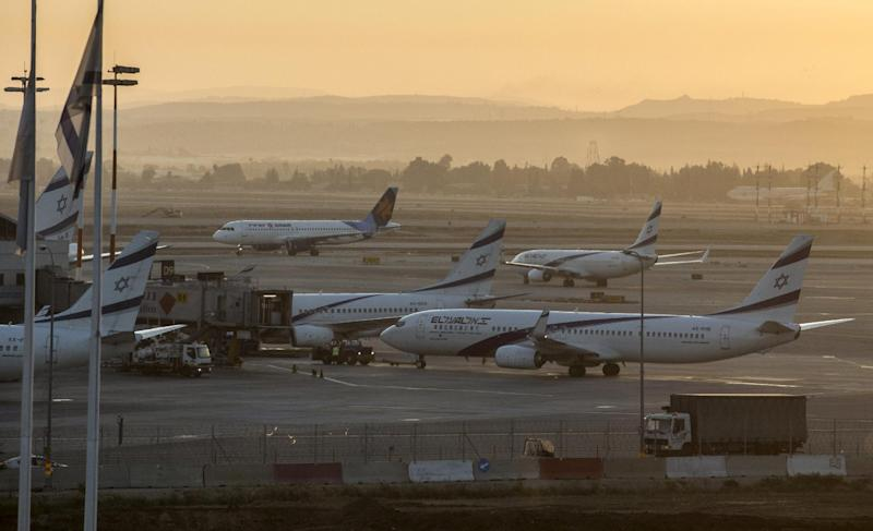 Planes sit on the tarmac at Ben Gurion International airport, near Tel Aviv on August 21, 2014