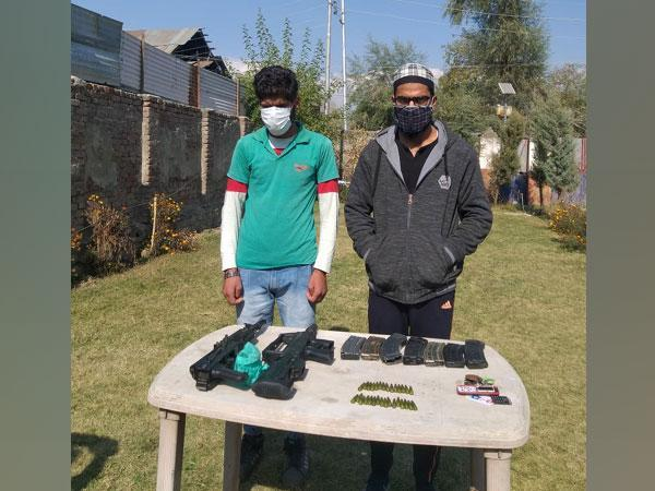 The apprehended persons identified as Liyakat Ahmad Mir and Aqib Rashid Mir are residents of Kupwara. (Photo/ANI)