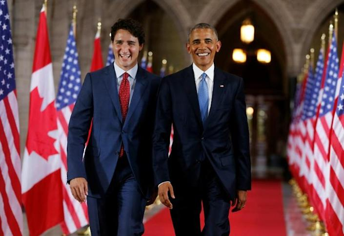 Justin Trudeau's star has dimmed since this 2016 visit by US President Barack Obama, who endorsed him for a second term (AFP Photo/Chris Roussakis )