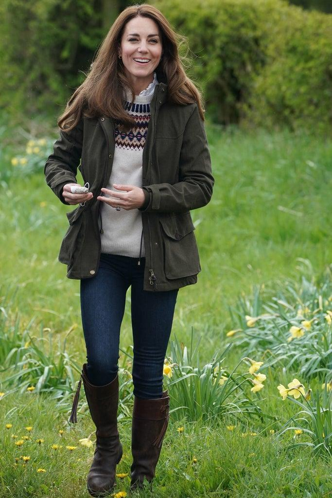 Britain's Catherine, Duchess of Cambridge, reacts during a visit to Manor Farm in Little Stainton, near Durham, north east England on April 27, 2021. (Photo by Owen Humphreys / POOL / AFP) (Photo by OWEN HUMPHREYS/POOL/AFP via Getty Images)