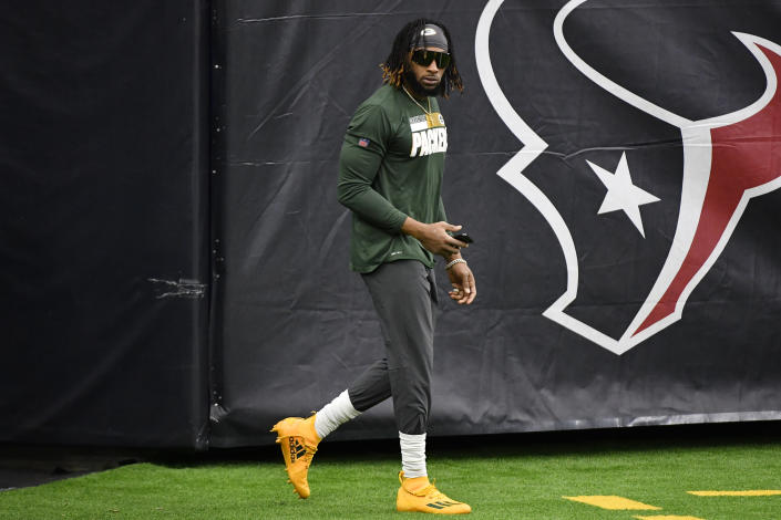 HOUSTON, TEXAS - OCTOBER 25: Aaron Jones #33 of the Green Bay Packers looks on prior to the game against the Houston Texans at NRG Stadium on October 25, 2020 in Houston, Texas. (Photo by Logan Riely/Getty Images)