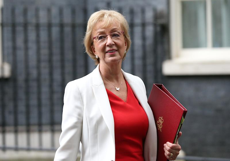 Business Secretary Andrea Leadsom in Downing Street in London.