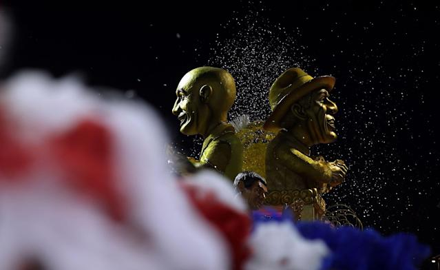 <p>A float of Mancha Verde Samba School is seen during carnival at Anhembi Sambadrome in Sao Paulo, Brazil, Feb. 10, 2018. (Photo: Paulo Whitaker/Reuters) </p>