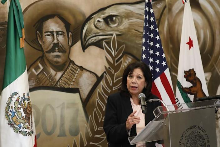 LOS ANGELES, CA - AUGUST 12: Los Angeles County Supervisor Hilda L. Solis joined The Consul General of Mexico Marcela Celorio for a press conference to announce a new COVID-19 testing site at the Mexican Consulate office in Los Angeles.The free testing site opened August 12, 2020 with data revealing that Latinos in L.A. County have been disproportionately impacted by COVID-19. Tests will be administered at this location five days a week with more than 1,500 tests to be administered weekly. Los Angeles on Wednesday, Aug. 12, 2020 in Los Angeles, CA. (Al Seib / Los Angeles Times)