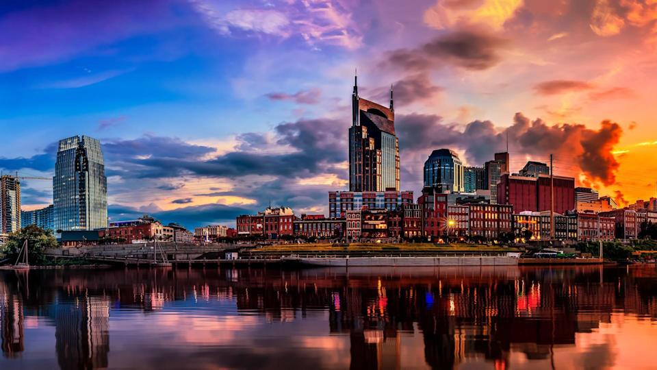Nashville TN Skyline with Cumberland river in view.