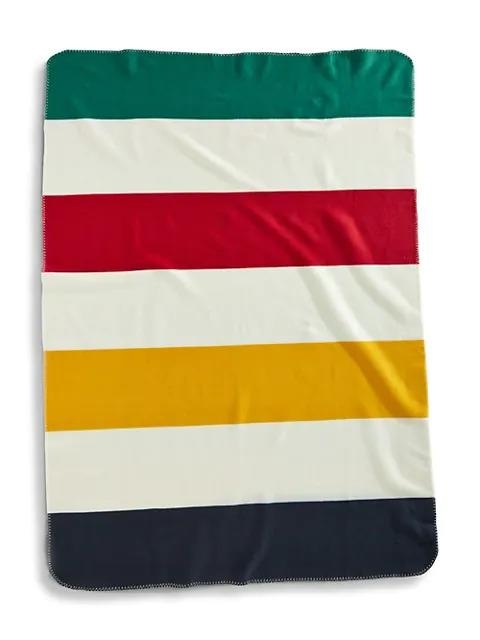 HBC Stripes Multistripe Fleece Throw with red, yellow, green, navy and cream wide stripes
