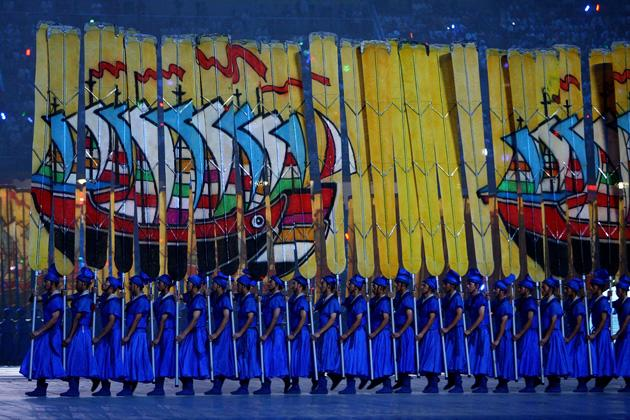BEIJING - AUGUST 08:  Oarsmen perform during the Opening Ceremony for the 2008 Beijing Summer Olympics at the National Stadium on August 8, 2008 in Beijing, China.  (Photo by Jeff Gross/Getty Images)