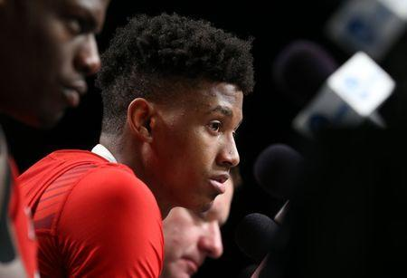 FILE PHOTO: Apr 8, 2019; Minneapolis, MN, USA; Texas Tech Red Raiders guard Jarrett Culver (23) speaks during a press conference after the championship game of the 2019 men's Final Four at US Bank Stadium. Mandatory Credit: Caylor Arnold-USA TODAY Sports