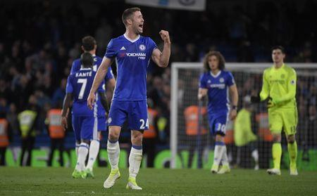 Chelsea's Gary Cahill celebrates after the match