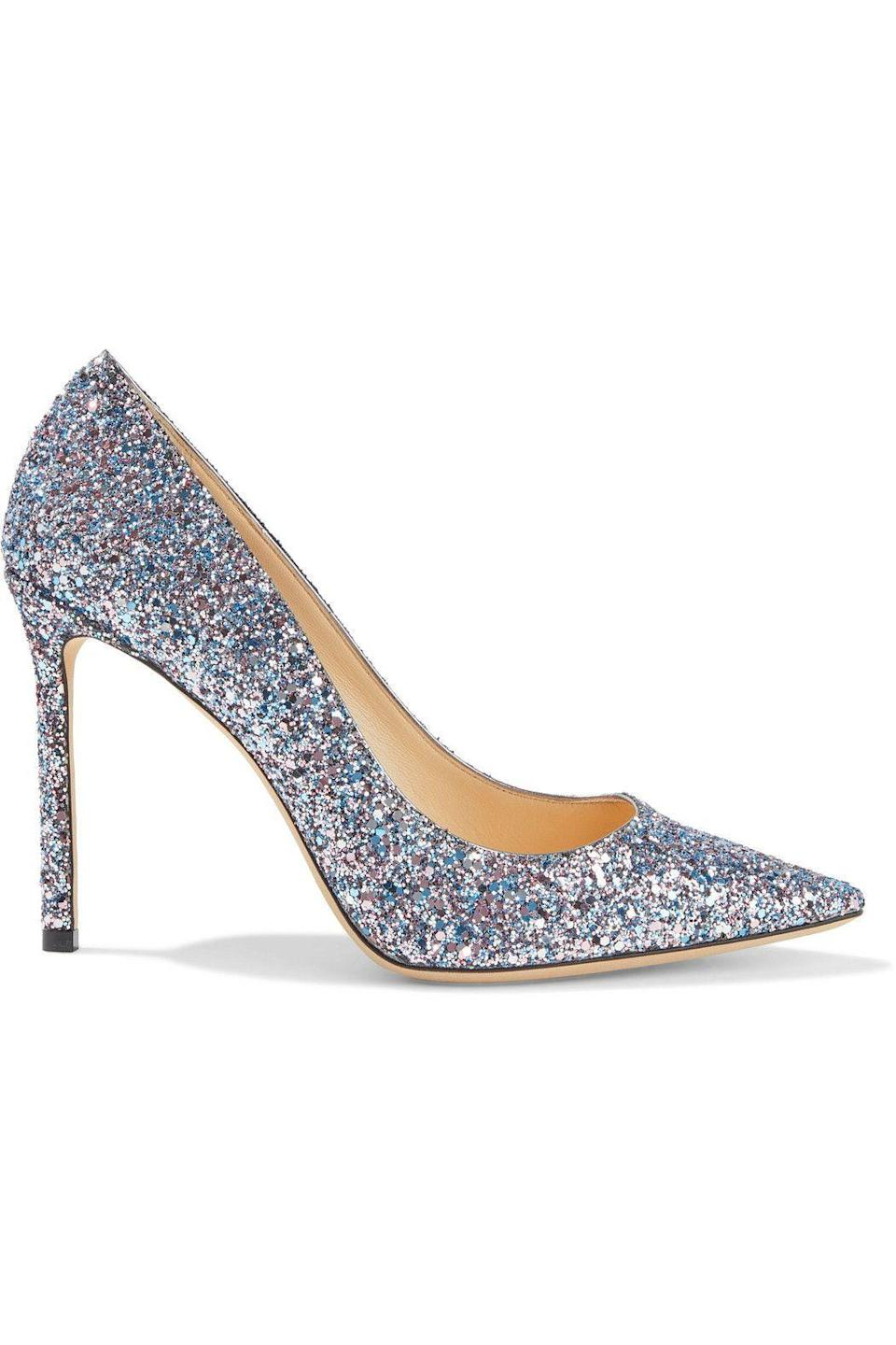 """<p><strong>JIMMY CHOO</strong></p><p>theoutnet.com</p><p><strong>$337.00</strong></p><p><a href=""""https://go.redirectingat.com?id=74968X1596630&url=https%3A%2F%2Fwww.theoutnet.com%2Fen-us%2Fshop%2Fproduct%2Fjimmy-choo%2Fpumps%2Fhigh-heel-pumps%2Fromy-100-glittered-woven-pumps%2F2204324140401667&sref=https%3A%2F%2Fwww.redbookmag.com%2Ffashion%2Fg34807151%2Fthe-outnets-black-friday-sale-2020%2F"""" rel=""""nofollow noopener"""" target=""""_blank"""" data-ylk=""""slk:Shop Now"""" class=""""link rapid-noclick-resp"""">Shop Now</a></p><p>And so does a pair of sparkly ones. </p>"""