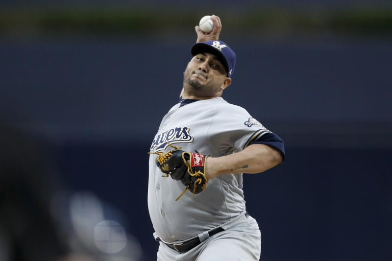 Milwaukee Brewers starting pitcher Jhoulys Chacin works against a San Diego Padres batter during the first inning of a baseball game Monday, June 17, 2019, in San Diego. (AP Photo/Gregory Bull)