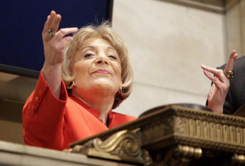 """FILE - In this Wednesday, April 1, 2009 file photo, Evelyn Y. Davis blows kisses to the crowd after ringing the closing bell at the New York Stock Exchange in New York. For decades, Davis, who has been buying a few shares of big companies, attends their annual meetings, turning them into her personal stage. But in 2012, Davis didn't show up at any company's annual meeting. Age has finally made her do what the most powerful CEOs in America couldn't: Give it a rest. """"I'm not so young anymore,"""" said Mrs. Davis, 82. (AP Photo/Seth Wenig)"""