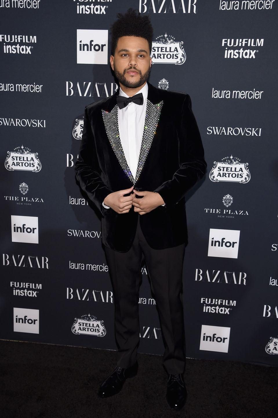 <p>As Tesfaye proves here, all black can look even better with a hint of sparkle. </p>