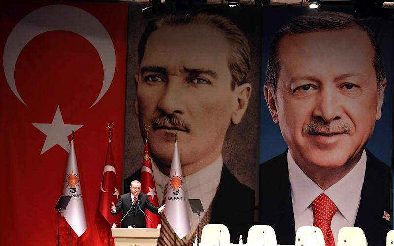 "Without going into detail, Erdogan said an image of Ataturk and his own name were used ""and these were the targets"""