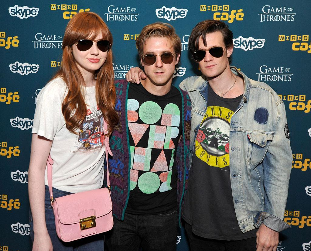 "Karen Gillan, Arthur Darvill and Matt Smith (""Doctor Who"") at WIRED Cafe during Comic-Con International on July 12, 2012 in San Diego, California."